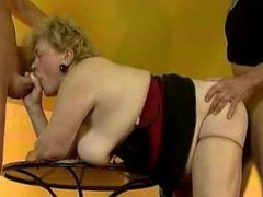 Fat old grandma gets fucked by two lucky part3