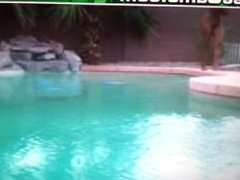 Exotic girl jump in pool, Tsunami kill PC