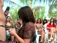 Naked guy gets blowjob from amateur clothed babe in groupsex