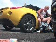 Blonde guy getting poopshute banged in vehicle part6