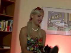 Watch glam amateur blonde put on stockings