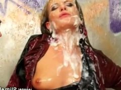 Babe sprayed with cum while riding cock