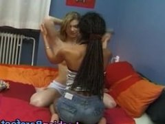 Black and White Teen Lesbians Licking part2