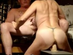 Horny wife rides big dildo and sucks cock