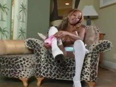 Ebony goddess strips and teases in white lingerie