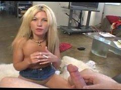 Hot blonde giving smoking bj