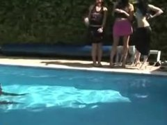 CFNM sluts jerk off skinny dipper by the pool side
