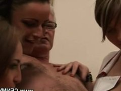 Horny girls want his cum so they wank him repeatedly