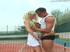 Blond teen gets huge dildo up the anus part6