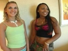 2 Interracial girls play with dildo