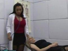 Cfnm femdom babes give handjob