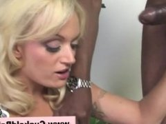 Slutty blonde enjoys sucking big dick of black guy