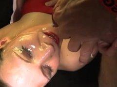 Bukkake fetish cum slut fuck suck and facial