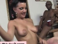 Babe brunette gets a pounding and loves to suck dick