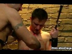 Bound gay nipples clamped and waxed and wrapped in bondage board
