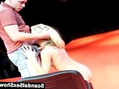 Sexy blonde sucking and fucking on stage