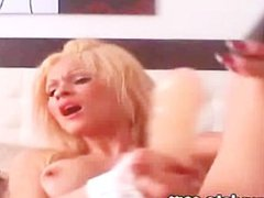 Blonde babe dildoing and fingering her pussy