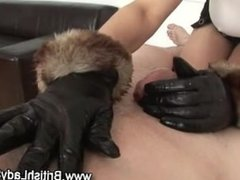 Leather gloved fetish handjob gets a cumshot surprise