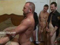 Gay ass filled with cock in a small bedroom filled with group of