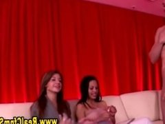 Cfnm party babes get off on dick watching as guy jerks off