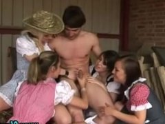 Hot milk maids get cock milking on the farm all day long