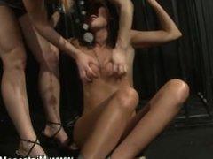 Lezdom queen toys fem slave as punishment