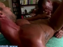 Gay blowjob and ass fuck from straight bait on massage table