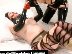 Gagged lesbian gets tortured