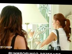 Hot & Mean redhead babe fucks her big-tit brunette roommate hard