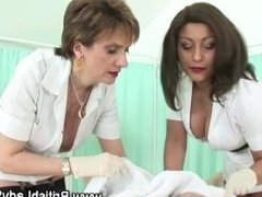 Couple of mature nurses scrub up a cock in hospital