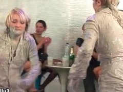 Two horny mud fighting Euro babes love part3
