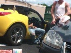 Blond buddy gets butt boned in car part5