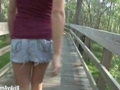 Cute girl next door gets naked in public