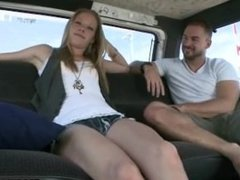 Hot college girl gets ina van with jocks and fucks them