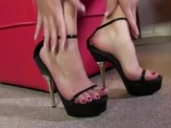 Sexy shoes fetish brunette gets interracial