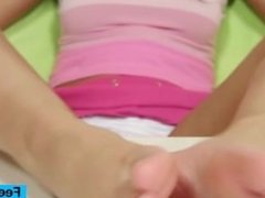 Gorgeous blonde teen Kelly Candy foot fetish