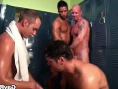 Straight guys get turned in locker room by hunky gays