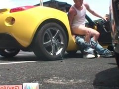 Blond dude gets ass banged in car part4