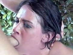 Outdoors anal sex with big breasted brunette