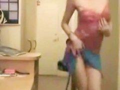 Russian girl dancing striptease