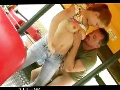 Fresh faced teen in jeans gives handjob