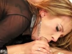Classy clothed euro babe gives guy a blowjob and gets fucked