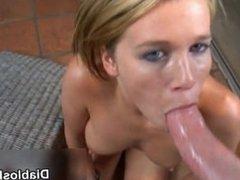Blonde slut loves to suck on big cocks, part2