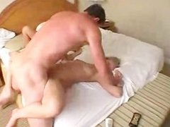 Fucking two horny blondes on bed
