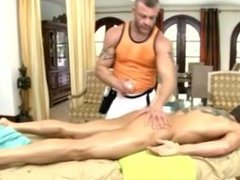 Gay rub down and blowjob from amateur massage gets wild