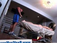 Straight guy massaged by manipulative gay bear