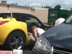 Blonde buddy getting butthole pounded in vehicle part1