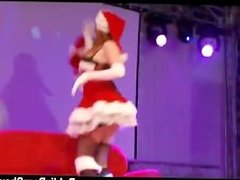 Stripper in santa outfit strips naked