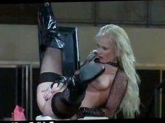Sexy blond stripper goes wild on stage