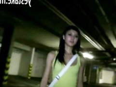 Teen girl paid to give a blowjob and get fucked in parkinggarage